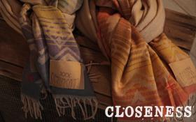 CLOSENESSより冬の防寒には欠かせない大判なストールが入荷